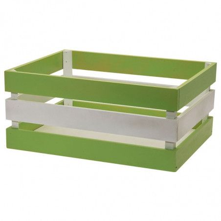 Wood basket Versilia green white