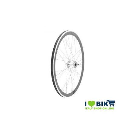 40706SSSK Ruote Fixed raggi 9x4 su cuscinetti, profilo 40mm, colore silver