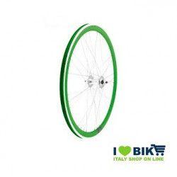 40706VSSK Ruote Fixed raggi 9x4 su cuscinetti, profilo 40mm, colore verde