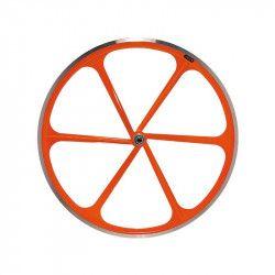 """Coppia ruote Fixed 28""""  a 6 razze in alluminio Fluo arancio"""