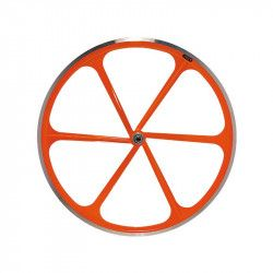 Couple Fixed wheels 6-spoke aluminum orange Fluo