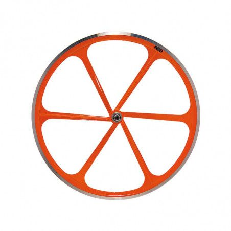 Couple Fixed wheels 6-spoke aluminum orange Fluo
