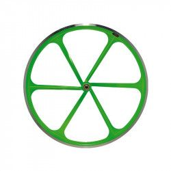 Couple Fixed wheels 6-spoke aluminum Fluo green