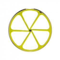 Couple Fixed wheels 6-spoke aluminum Fluo yellow