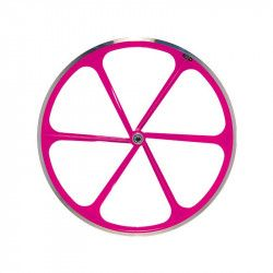 Couple Fixed wheels 6-spoke aluminum Neon Pink