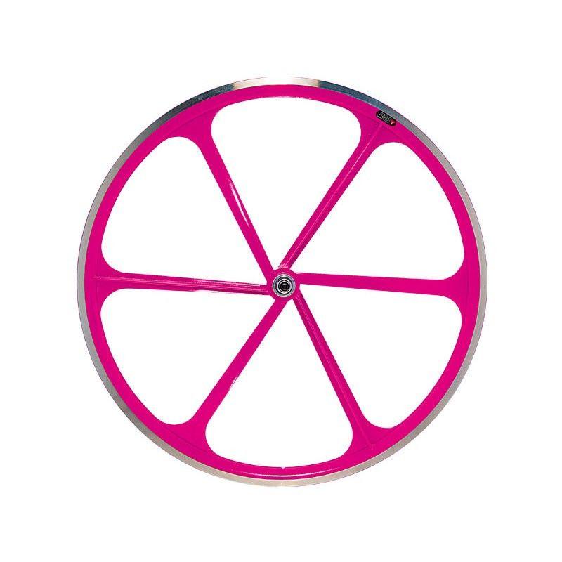 Couple Fixed wheels 6-spoke aluminum Neon Pink  - 1