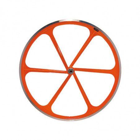 Fixed front wheel 6-spoke aluminum orange Fluo