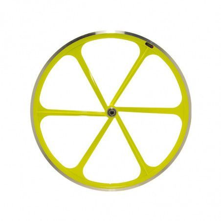 Fixed front wheel 6-spoke aluminum yellow Fluo