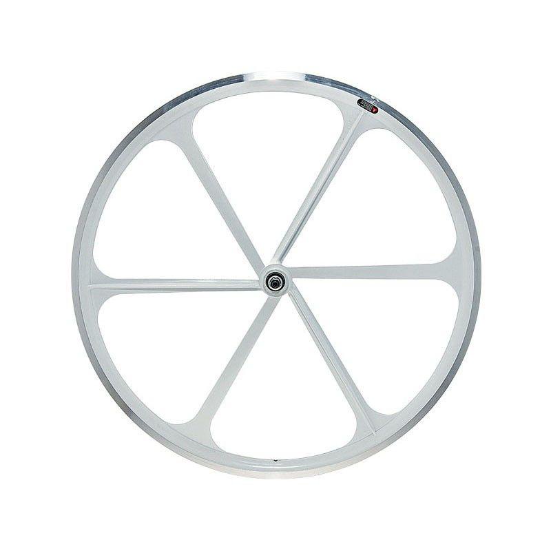 Ruota Anteriore Fixed A 6 Razze In Alluminio Bianco Fixed Bike Shop