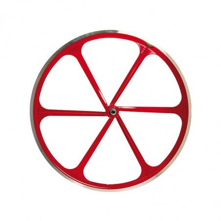 Fixed front wheel 6-spoke aluminum red