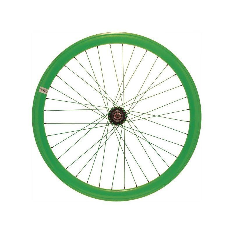 """Ruota fixed 28"""" posteriore verde fluo (cerchio 43 mm)"""