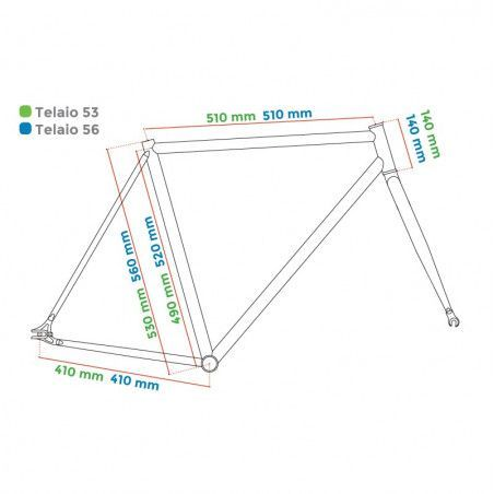 "Aluminum frame fixed cromovelato green size 53, Fork 1 ""threaded"