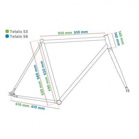 "Aluminum frame fixed cromovelato titanium size 53, Fork 1 ""threaded"