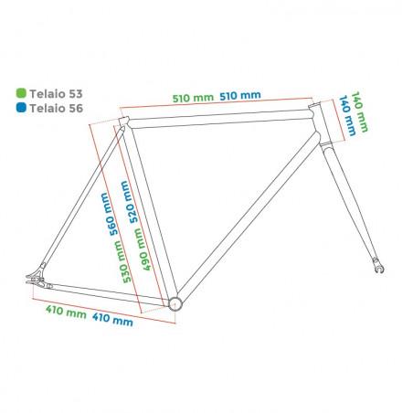 """Aluminum frame fixed cromovelato orange size 56, Fork 1 """"threaded"""