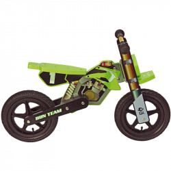 Bicycle without pedals wooden MOTO CROSS green