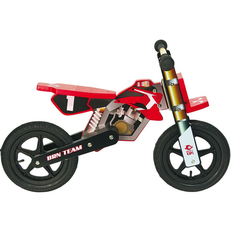 Bicycle Without Pedals Wooden Moto Cross Red Child Bike