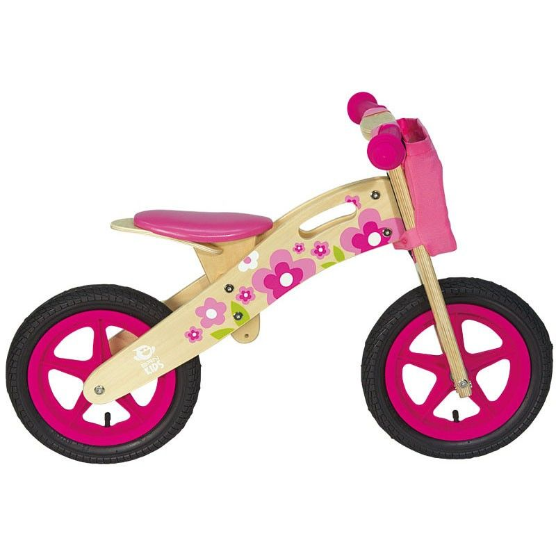 Bicycle without pedals NATURAL WOOD Flower pink  - 2
