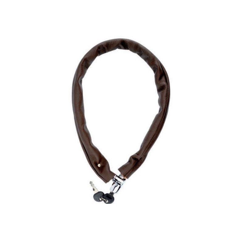 Padlock chain covered in brown leather  - 1
