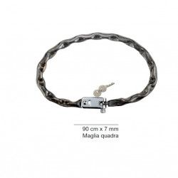 Padlock chain with square mesh with integrated lock DIAM 7 mm