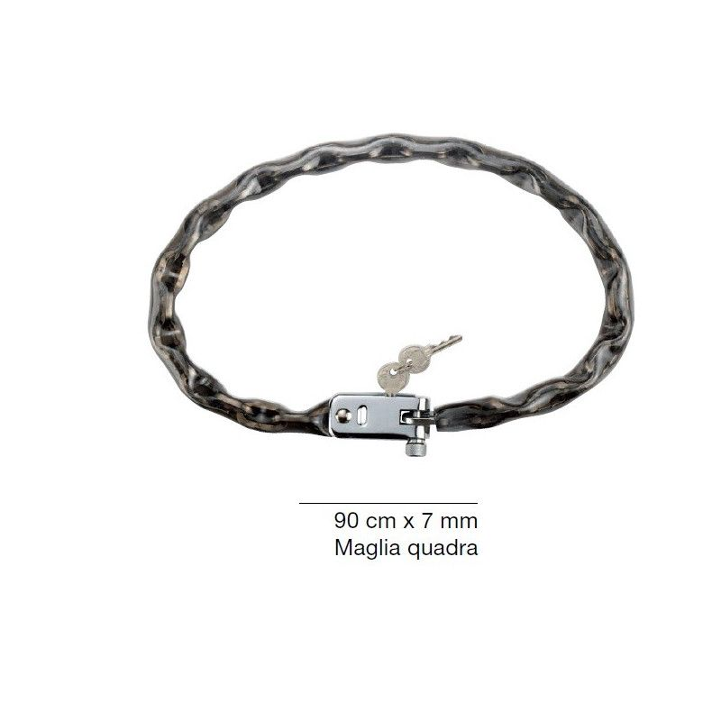 Padlock chain with square mesh with integrated lock DIAM 7 mm  - 1
