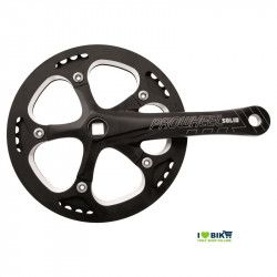 Crank SOLID with chain guard 46T X 3/32 X 165 - BLACK