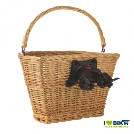 Natural wicker basket bike with a tie-clip online sale