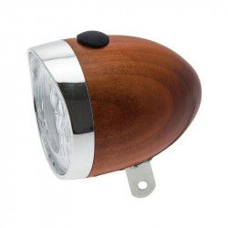 Spotlight vintage bicycle light honey-colored wooden 70mm sale online