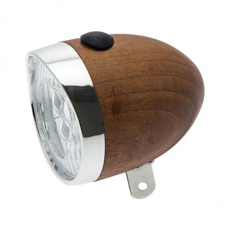 Spotlight vintage bicycle light walnut-colored wooden 70mm sale online