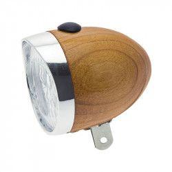 Riflettore bici retrò a led in legno colore rovere 70mm shop online