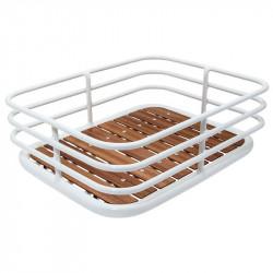 Cestino vintage Cage in alluminio bianco con base in legno online shop