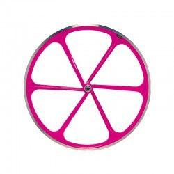"Fixed Rear wheel 28"" 6-spoke aluminum Fluorescent pink RMS - 1"