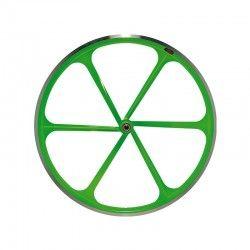 """Fixed Rear wheel 28"""" 6-spoke aluminum Fluo green RMS - 1"""