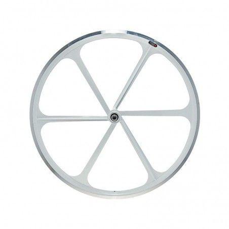 Ruota posteriore bici fixed 6 razze bianco online shop