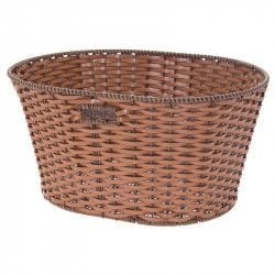 Basket in Faux Leather round honey