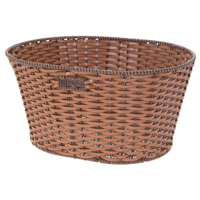 Basket in Faux Leather round honey BRN - 1