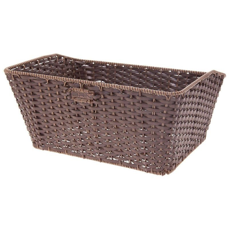 Basket in Faux Leather rectangular brown BRN - 1
