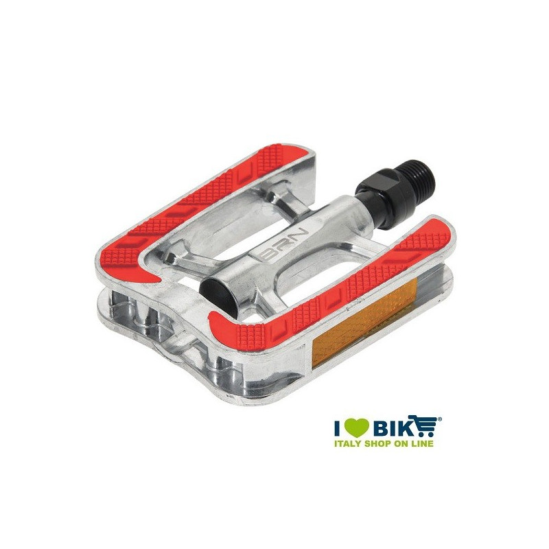 BRN City bike pedals aluminum with red slip rubber bike shop