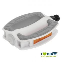 Coppia pedali city bike in resina bianca BRN Riviera con gomma antiscivolo grigia online shop