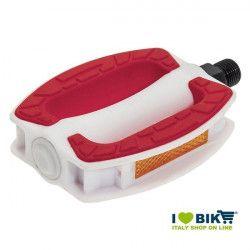 Coppia pedali city bike in resina bianca BRN Riviera con gomma antiscivolo rossa online shop