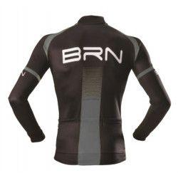 Maglia ciclismo BRN invernale grigio nera manica lunga