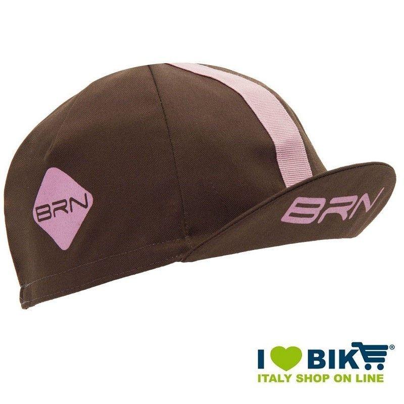 Cappellino retrò ciclismo BRN marrone / rosa taglia unica bike shop