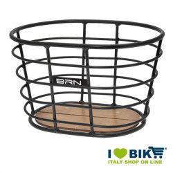 Basket vintage BRN Alloy oval black with base in wood shop online