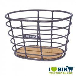 Cestino vintage BRN Alloy Ovale Titanio con base in legno online shop