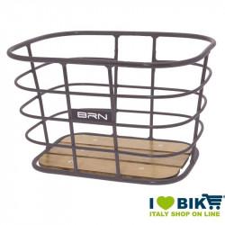Cestino vintage BRN Alloy Rettangolare Titanio con base in legno online shop