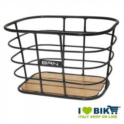 Cestino vintage BRN Alloy Rettangolare nero con base in legno online shop