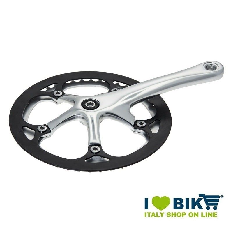 Guarnitura per bici Fixed Silver con paracorona nero online shop