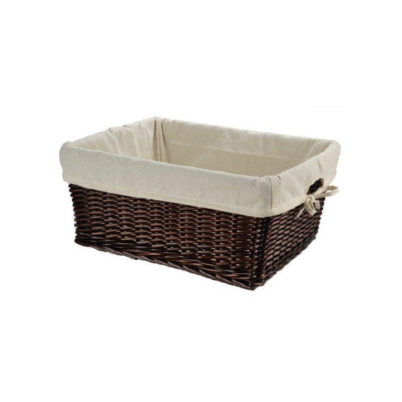 Large wicker brown basket with liner BRN - 1