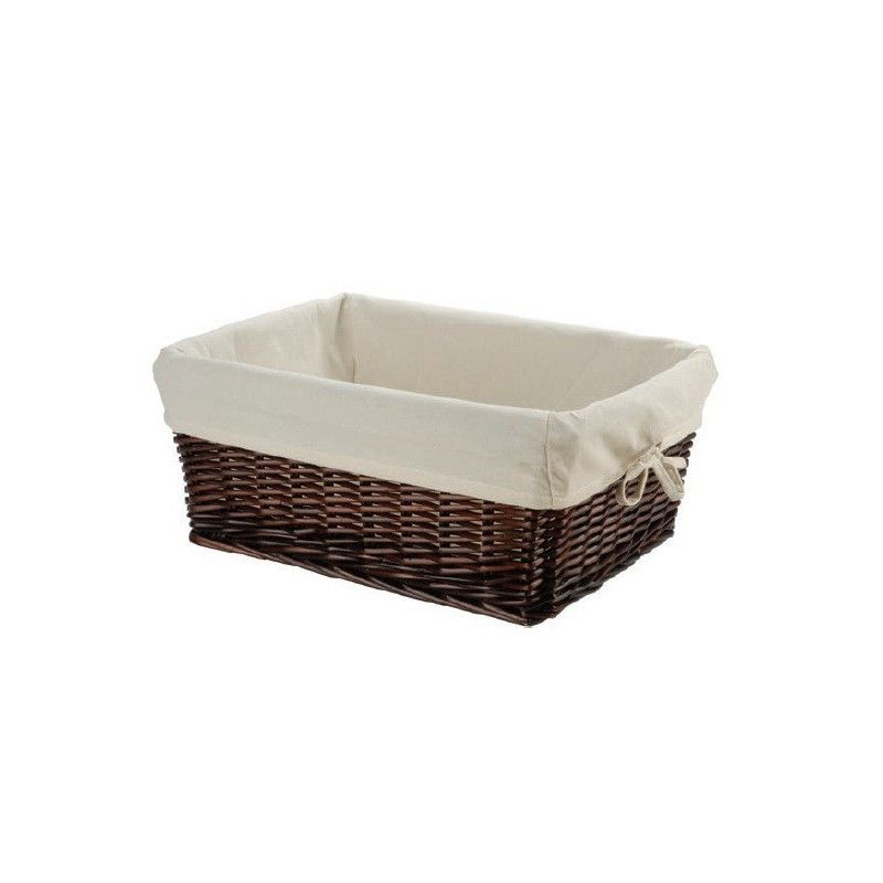 Small brown wicker basket with liner BRN - 1