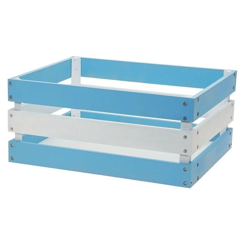 CE72AB cesto in legno versilia bianco azzurro