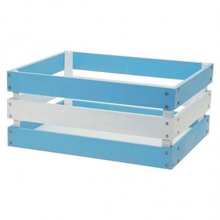 Wood basket Versilia Blue-White Reinforced
